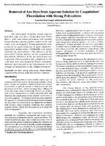 Removal of A20 Dyes from Aqueous Solution by Coagulation - India ...