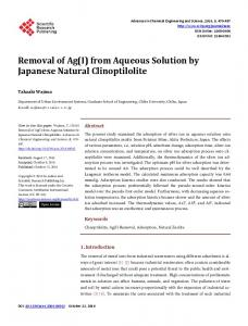 Removal of Ag(I) from Aqueous Solution by Japanese Natural ...