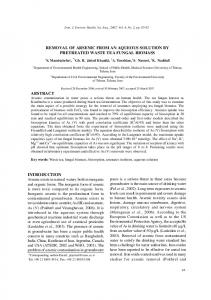 removal of arsenic from an aqueous solution by ...
