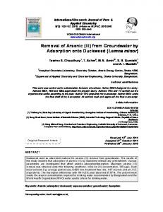 Removal of Arsenic (III) from Groundwater by Adsorption onto ...