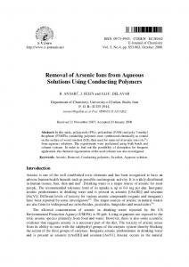 Removal of Arsenic Ions from Aqueous Solutions Using ... - Hindawi