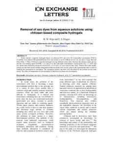 Removal of azo dyes from aqueous solutions using chitosan based