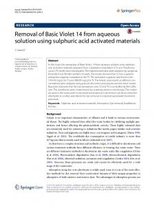Removal of Basic Violet 14 from aqueous solution ... - Semantic Scholar