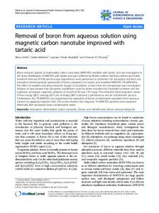 Removal of boron from aqueous solution using ... - BioMedSearch