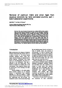 Removal of cadmium Cd(ii) and silver Ag(i) from aqueous solutions by ...