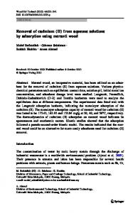 Removal of cadmium (II) from aqueous solutions by ... - Springer Link