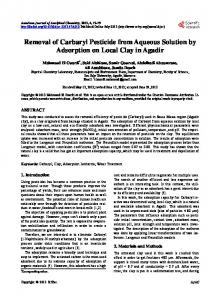 Removal of Carbaryl Pesticide from Aqueous Solution by Adsorption ...