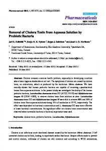 Removal of Cholera Toxin from Aqueous Solution