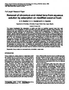 Removal of chromium and nickel ions from aqueous solution by