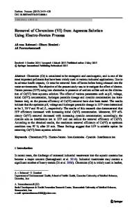 Removal of Chromium (VI) from Aqueous Solution Using Electro ...