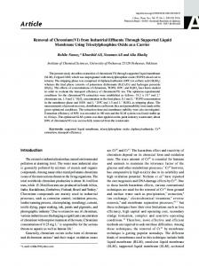 Removal of Chromium (VI) from Industrial Effluents Through ...