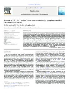 Removal of Co2+, Sr2+ and Cs+ from aqueous