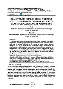 removal of copper from aqueous solution using ...