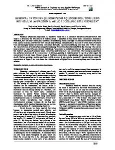 removal of copper (ii) ions from aqueous solution ... - ARPN Journals