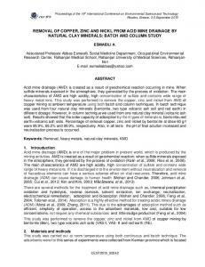 Removal of copper, zinc and nickl from acid mine ... - CEST2015