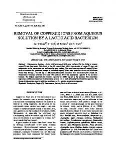 removal of copper(ii) ions from aqueous solution by a lactic ... - SciELO