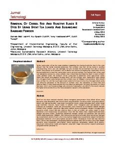 REMOVAL OF CRESOL RED AND REACTIVE BLACK 5 DYES BY ...