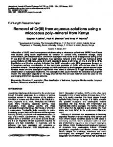 Removal of Cr(III) from aqueous solutions using a