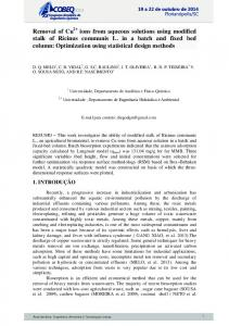 Removal of Cu ions from aqueous solutions using ...