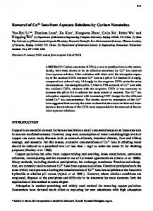Removal of Cu2+ Ions from Aqueous Solutions by Carbon Nanotubes