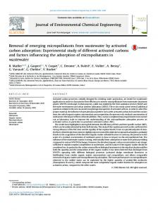 Removal of emerging micropollutants from ...