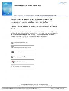Removal of fluoride from aqueous media by magnesium oxide-coated