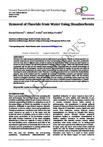 Removal of Fluoride from Water Using Bioadsorbents