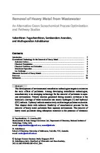 Removal of Heavy Metal from Wastewater - Springer Link