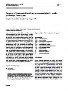 Removal of heavy metal ions from aqueous solution by zeolite ...
