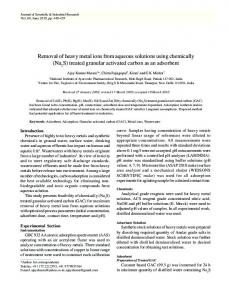 Removal of heavy metal ions from aqueous solutions using ... - NOPR