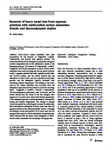 Removal of heavy metal ions from aqueous solutions with multi-walled ...
