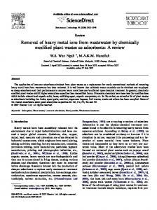 Removal of heavy metal ions from wastewater by ... - CiteSeerX