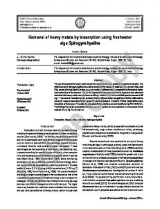 Removal of heavy metals by biosorption using ... - Semantic Scholar