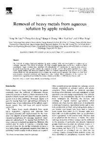 Removal of heavy metals from aqueous solution by apple residues