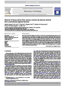 Removal of heavy metals from aqueous solution by biochars ... - ufl