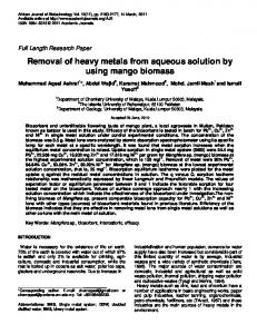 Removal of heavy metals from aqueous solution by using ... - umexpert