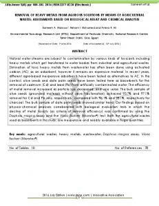 Removal of heavy metals from aqueous solutions by means of