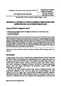 Removal of heavy metals from groundwater affected by acid mine ...