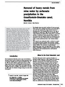 Removal of heavy metals from mine water by ... - Springer Link