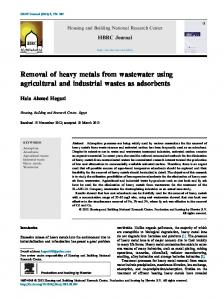 Removal of heavy metals from wastewater using ...