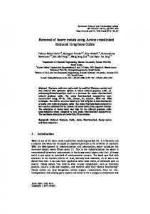 Removal of heavy metals using Amine crosslinked