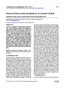 Removal of hexavalent chromium by an aromatic alcohol - Scientific