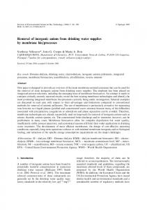 Removal of inorganic anions from drinking water supplies by