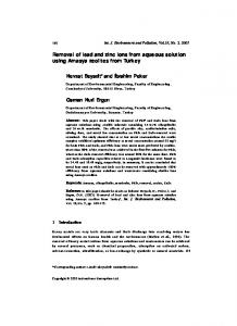 Removal of lead and zinc ions from aqueous solution