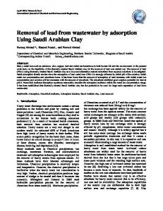 Removal of lead from wastewater by adsorption Using Saudi Arabian ...
