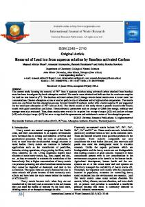 Removal of Lead ion from aqueous solution by ... - URP Journals