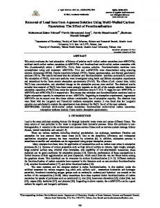 Removal of Lead Ions from Aqueous Solution Using ...
