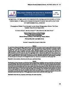 removal of malachite green dye from aqueous solution using ... - UKM