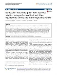 Removal of malachite green from aqueous solution using pulverized