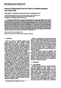 Removal of Manganese(II) Ions from Water by Leptothrix discophora ...